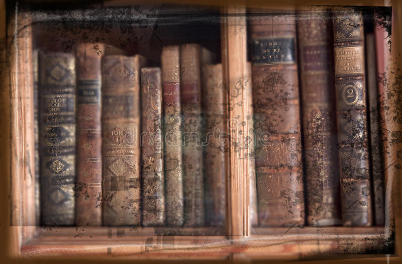 Grunge image of antique books in bookcase royalty free illustration