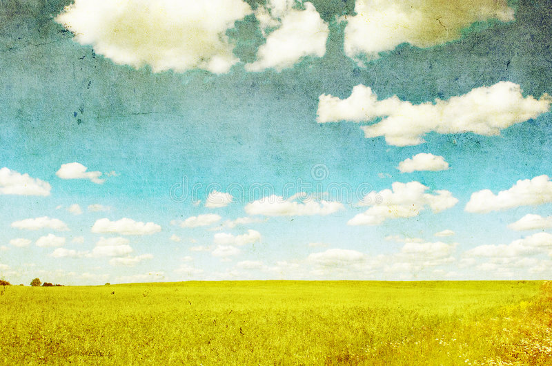 Grunge image of green field royalty free illustration