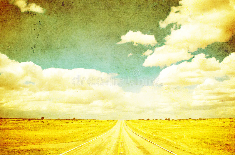 Grunge image of highway and blue sky vector illustration
