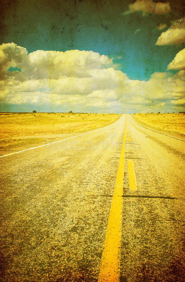 Grunge image of highway and blue sky stock illustration