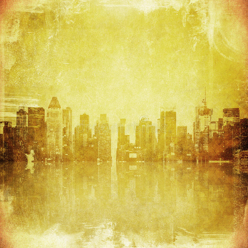 Grunge image of new york skyline vector illustration