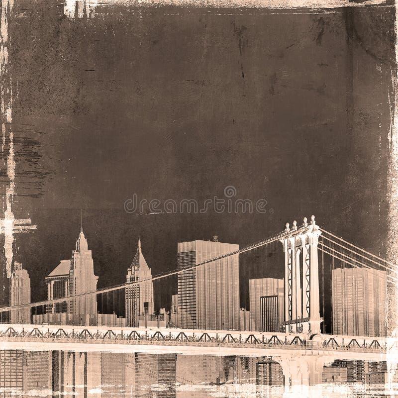 Grunge image of new york skyline stock illustration