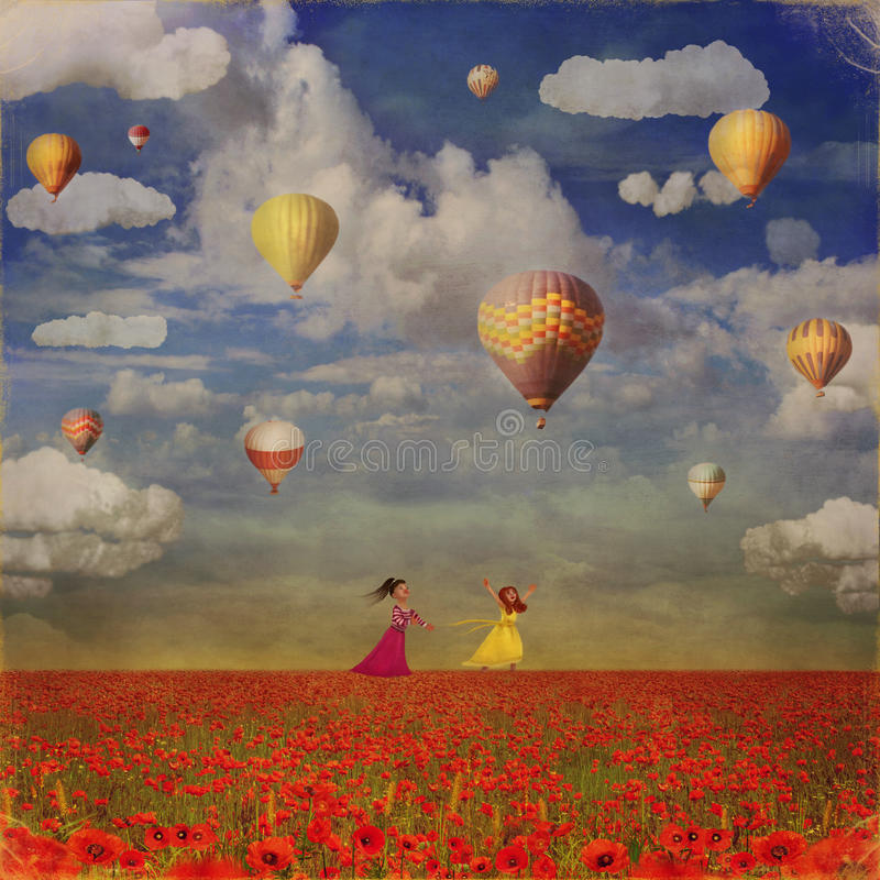 Grunge image of small girls with colorful hot air balloons. Against sky on red poppies field royalty free illustration