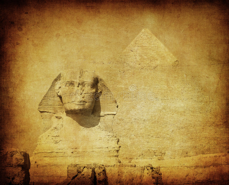 Grunge image of sphynx and pyramid stock photos