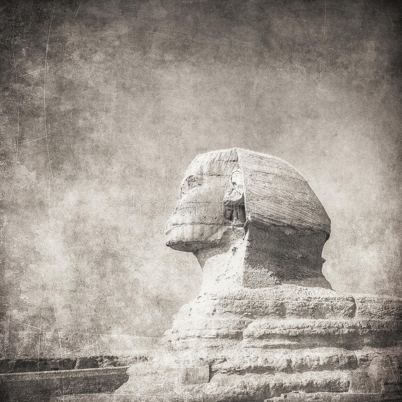 Grunge image of sphynx and pyramid royalty free stock image