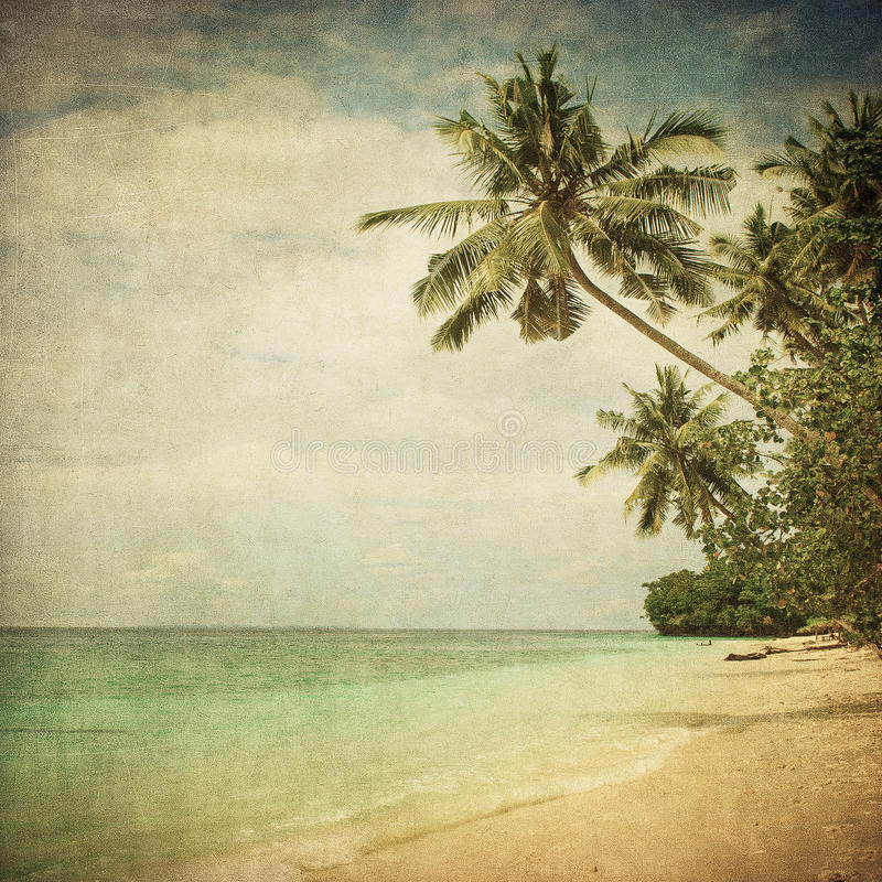 Grunge image of tropical beach royalty free stock photo