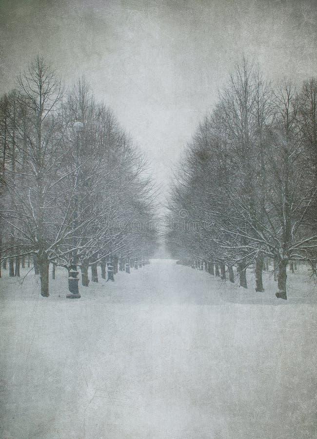 Grunge image of winter landscape stock illustration