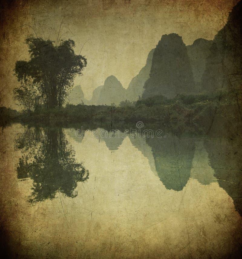 Download Grunge Image Of Yulong River, Guangxi Province Stock Illustration - Illustration of landscape, asia: 15855426