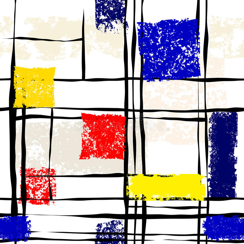 Grunge imitacja Mondrian obraz ilustracji