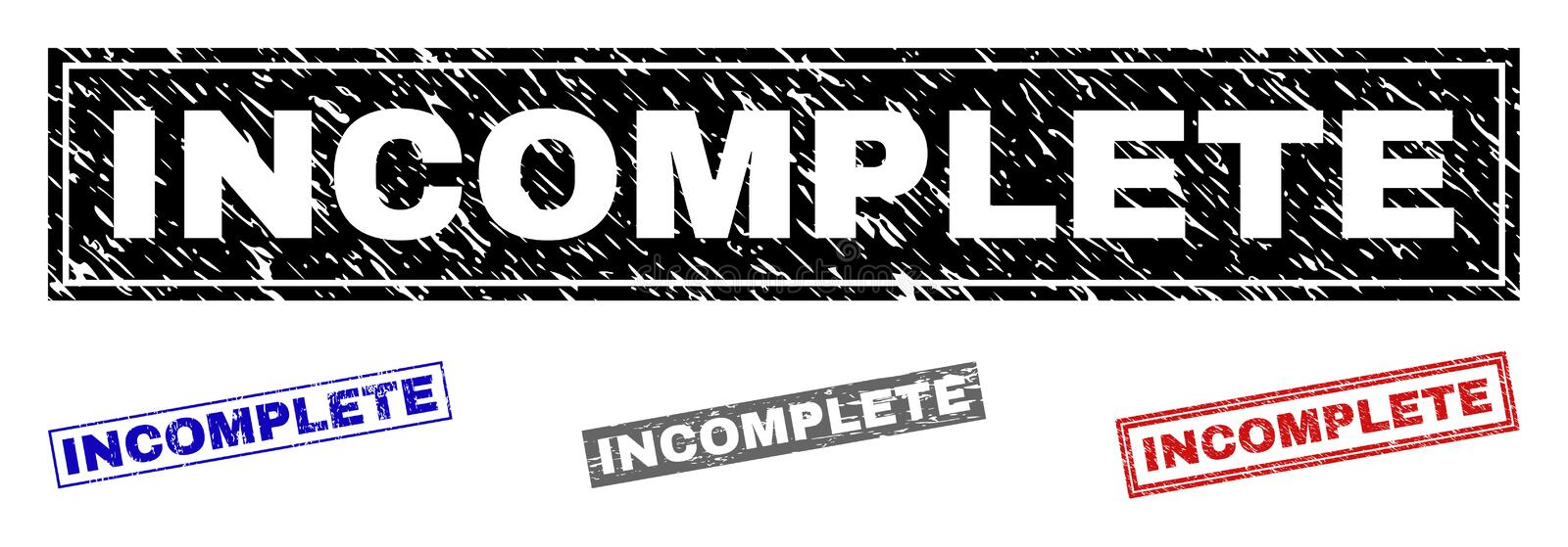 Grunge INCOMPLETE Scratched Rectangle Watermarks. Grunge INCOMPLETE rectangle stamp seals isolated on a white background. Rectangular seals with grunge texture royalty free illustration