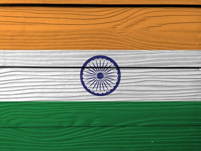 Grunge Indian flag texture, tricolor of India saffron, orange white and green with the Ashoka Chakra wheel. stock illustration