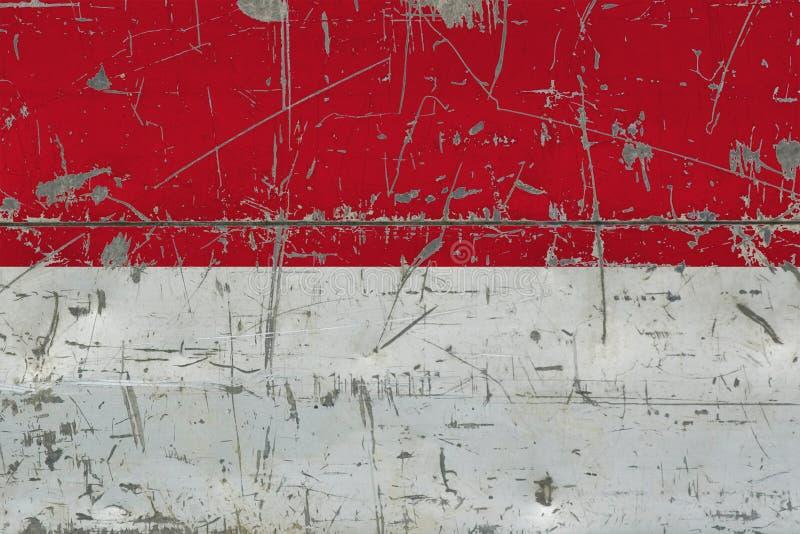 Grunge Indonezja flaga na starej porysowanej drewnianej powierzchni Krajowy rocznika tło ilustracja wektor