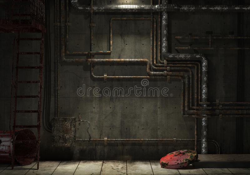 Grunge industrial pipe wall royalty free illustration