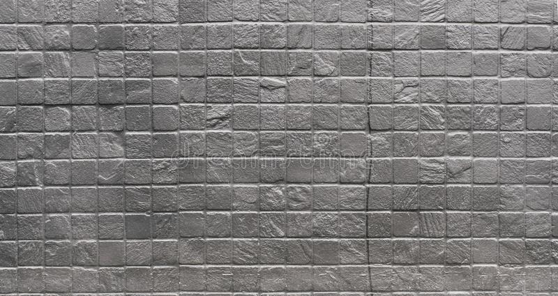 Grunge industrial silver painted square brick wall royalty free stock photography