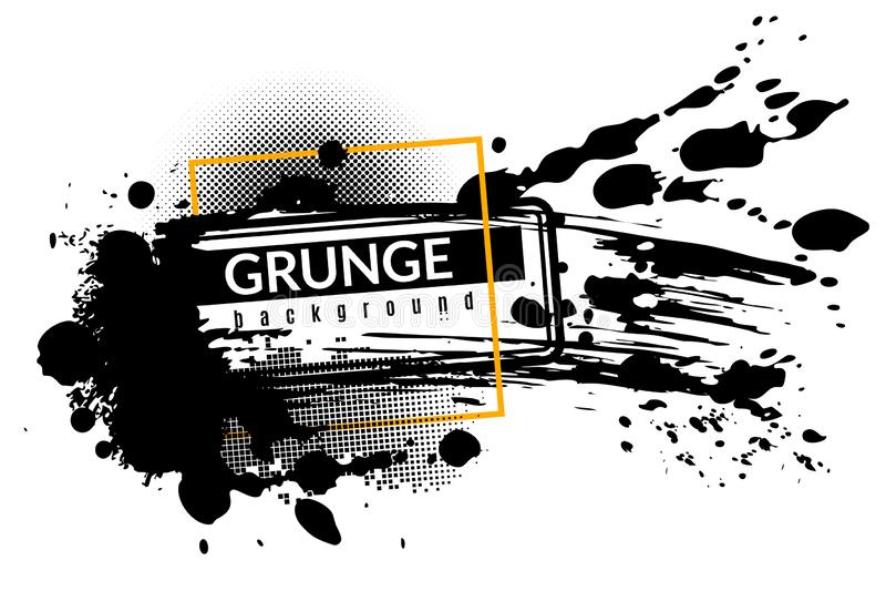 Grunge ink background. Black inked splatter dirt stain splattered spray splash with drops vector abstract texture vector illustration