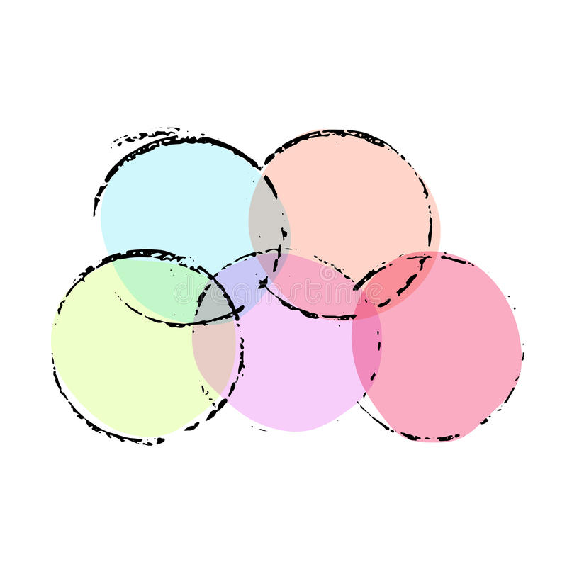 Grunge ink circles. Watercolor vector frames. Set of grungy round imprints. royalty free illustration
