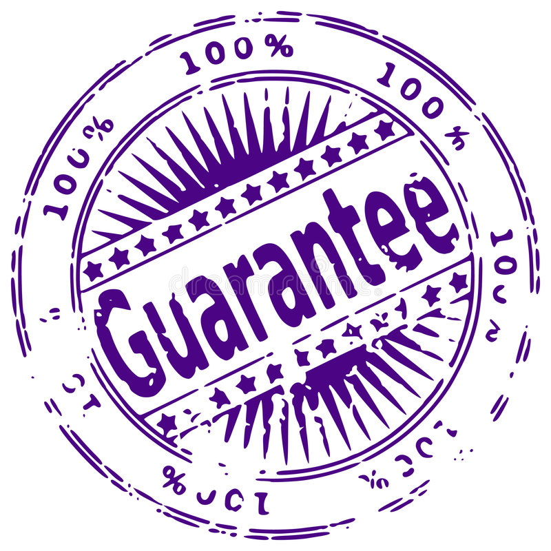 Grunge ink stamp GUARANTEE. Illustration of a grunge rubber ink stamp 100% guarantee on white background