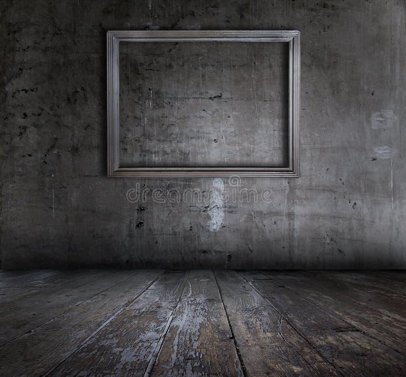 Grunge Innenraum mit Bilderrahmen stockbild