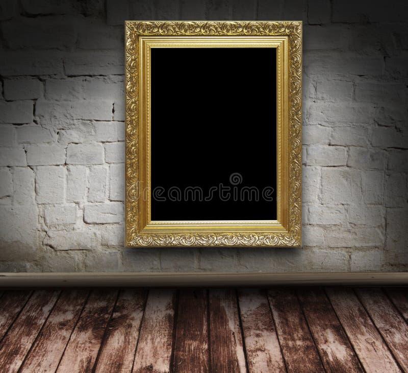 Grunge Innenraum mit Bilderrahmen stock abbildung