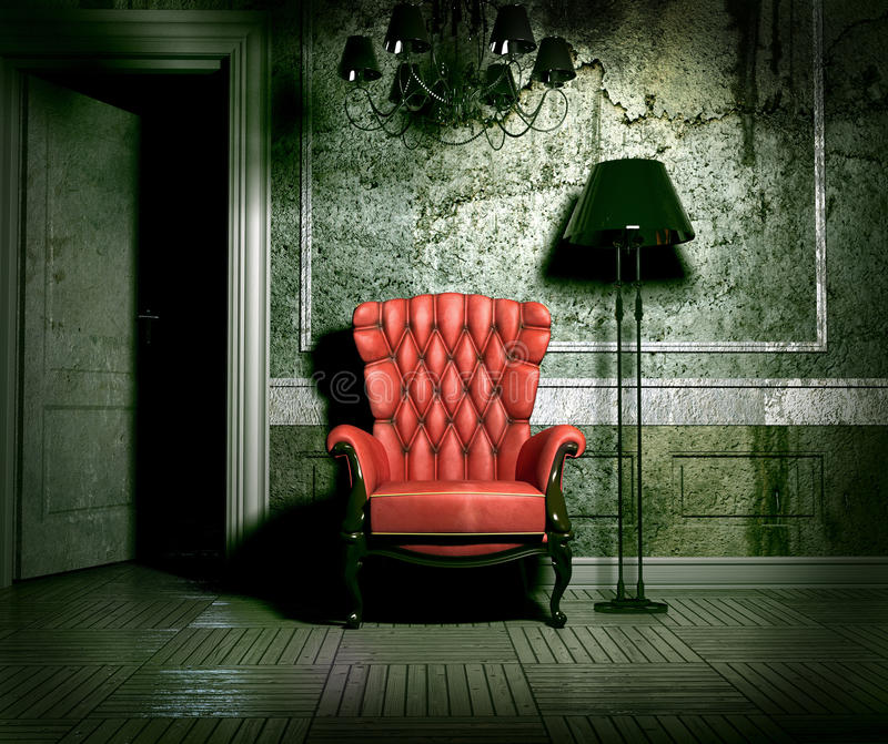 Grunge interior. Luxury armchair in grunge interior (3D rendering