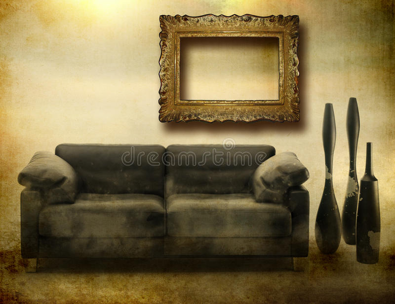 Grunge interior arkivfoton