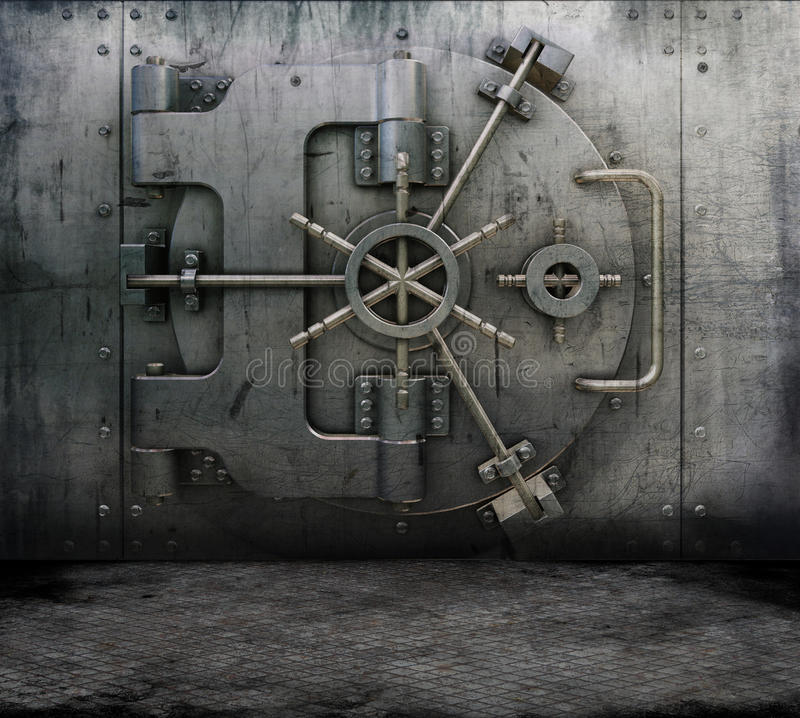 Grunge interior with bank vault stock illustration