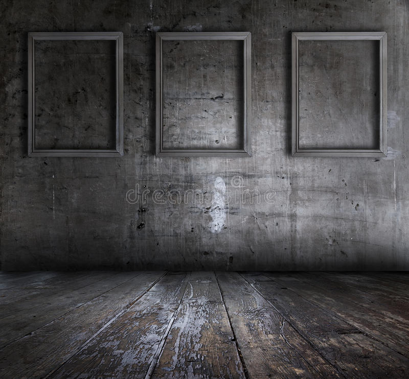 Download Grunge Interior With Picture Frames Stock Image - Image of dark, border: 11676227