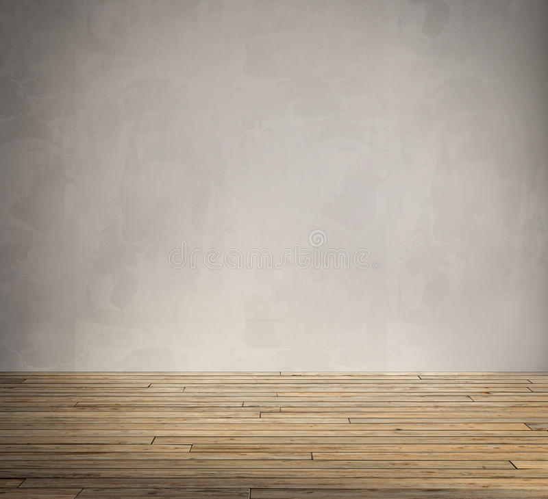 Grunge interior, vintage aged old wood floor stock photography