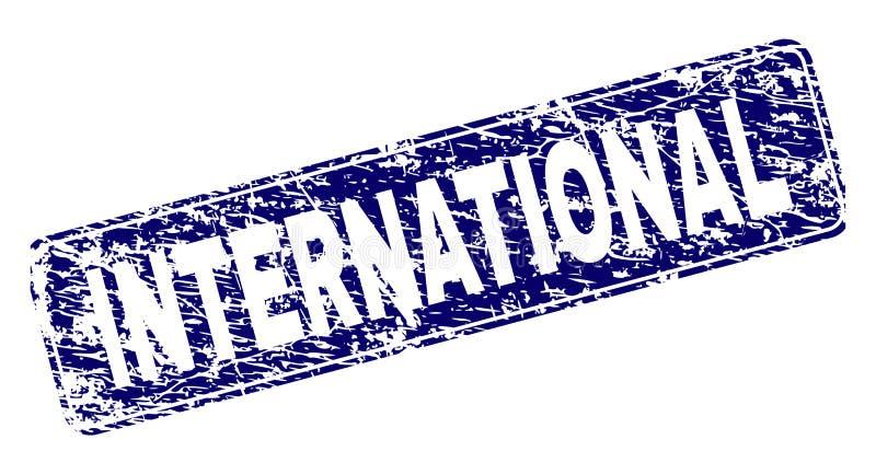 Grunge INTERNATIONAL Framed Rounded Rectangle Stamp vector illustration