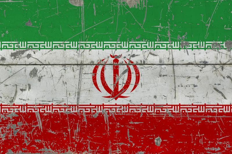Grunge Iran flag on old scratched wooden surface. National vintage background royalty free illustration