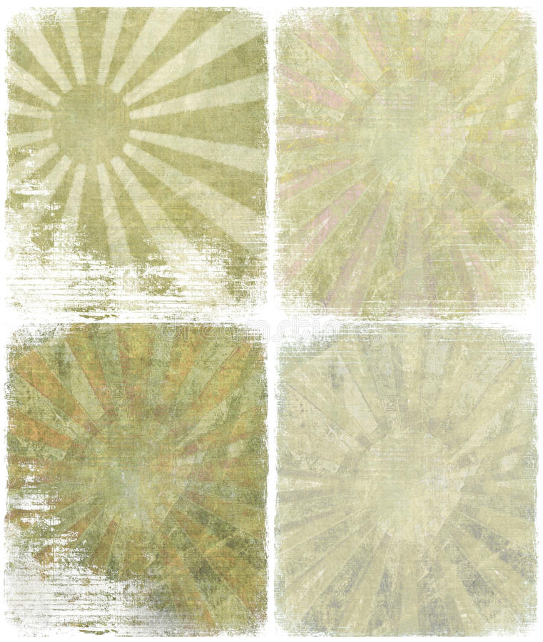 grunge isolerad stigande set sun royaltyfri illustrationer