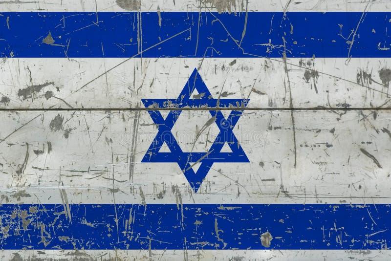 Grunge Israel flag on old scratched wooden surface. National vintage background stock illustration