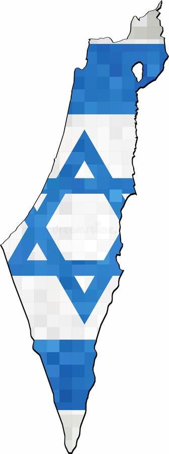 Grunge Israel map with flag inside royalty free illustration