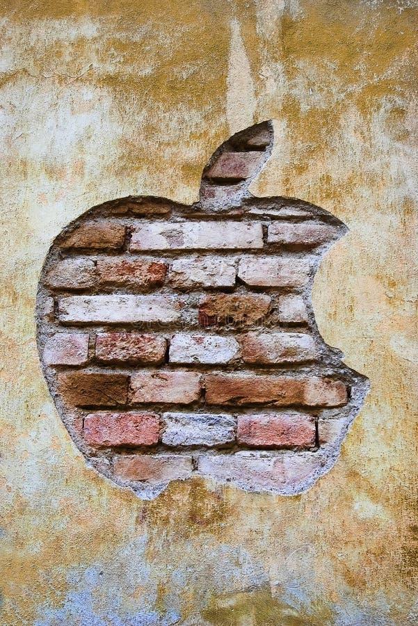 grunge jabłczany logo obrazy royalty free