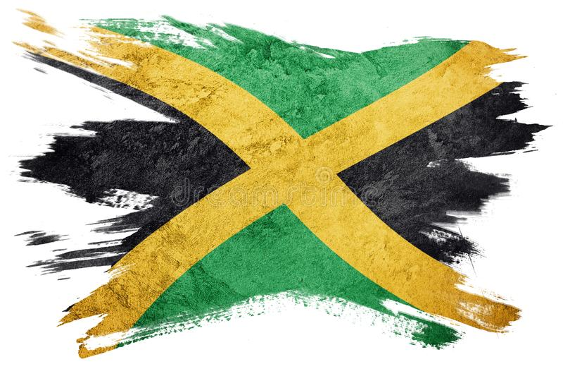 Grunge Jamaica flag. Jamaica flag with grunge texture. Brush stroke. Brush stroke Flag royalty free illustration
