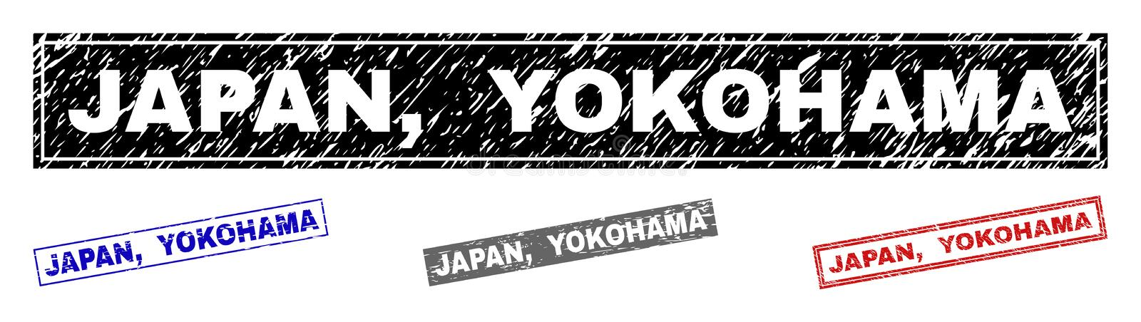 Grunge JAPAN, YOKOHAMA Textured Rectangle Stamps. Grunge JAPAN, YOKOHAMA rectangle stamp seals isolated on a white background. Rectangular seals with grunge royalty free illustration