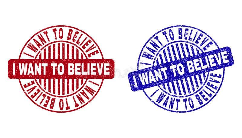 Grunge JE VEUX CROIRE les joints ronds rayés de timbre illustration libre de droits