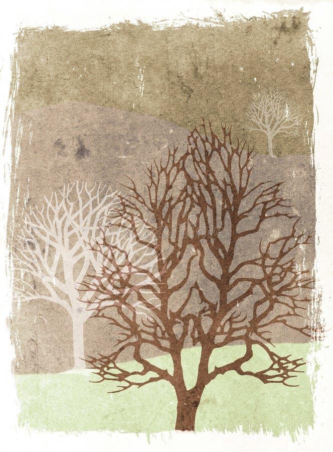 grunge jesiennej ilustracji drzewa royalty ilustracja