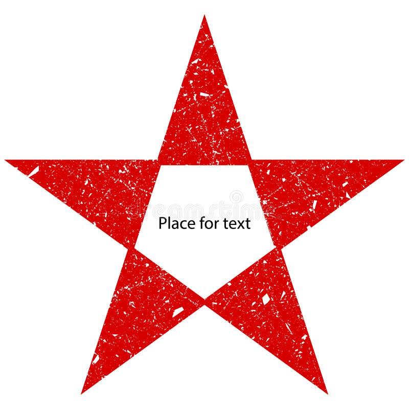Grunge jest czerwonym dużym gwiazdą Wektorowa podława, porysowana gwiazda, Grunge gwiazdowy symbol royalty ilustracja