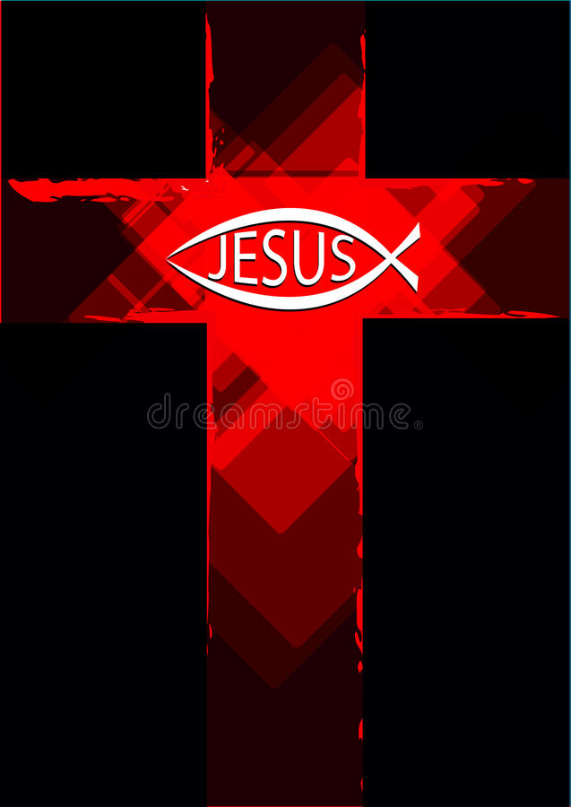 Grunge Jesus symbol on a cross and christian fish logo stock illustration