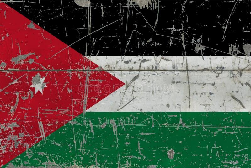 Grunge Jordan flag on old scratched wooden surface. National vintage background stock illustration