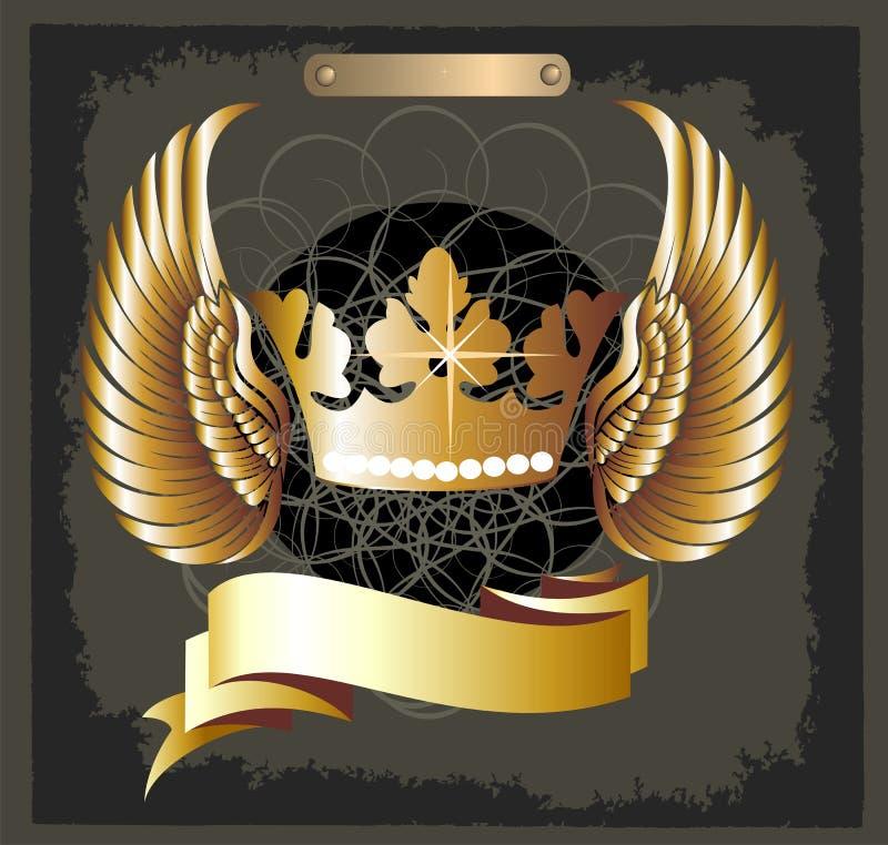 Grunge königlicher Kronenvektor mit Flügeln lizenzfreie abbildung