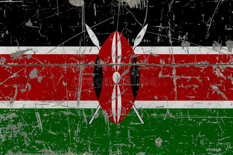 Grunge Kenya flag on old scratched wooden surface. National vintage background royalty free illustration