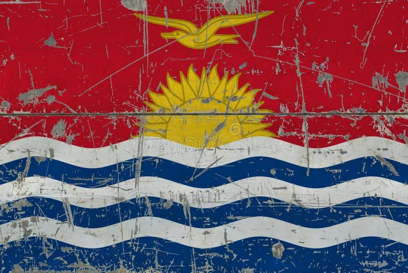 Grunge Kiribati flag on old scratched wooden surface. National vintage background stock illustration