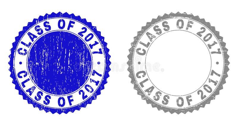 Grunge klasa 2017 Porysowanych Watermarks ilustracja wektor