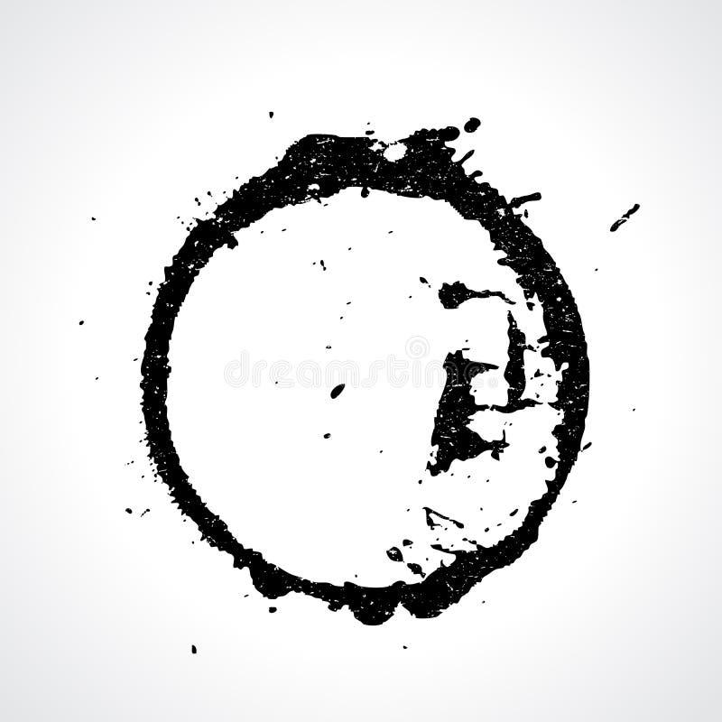 Grunge kleksa wektorowy round odcisk ilustracja wektor
