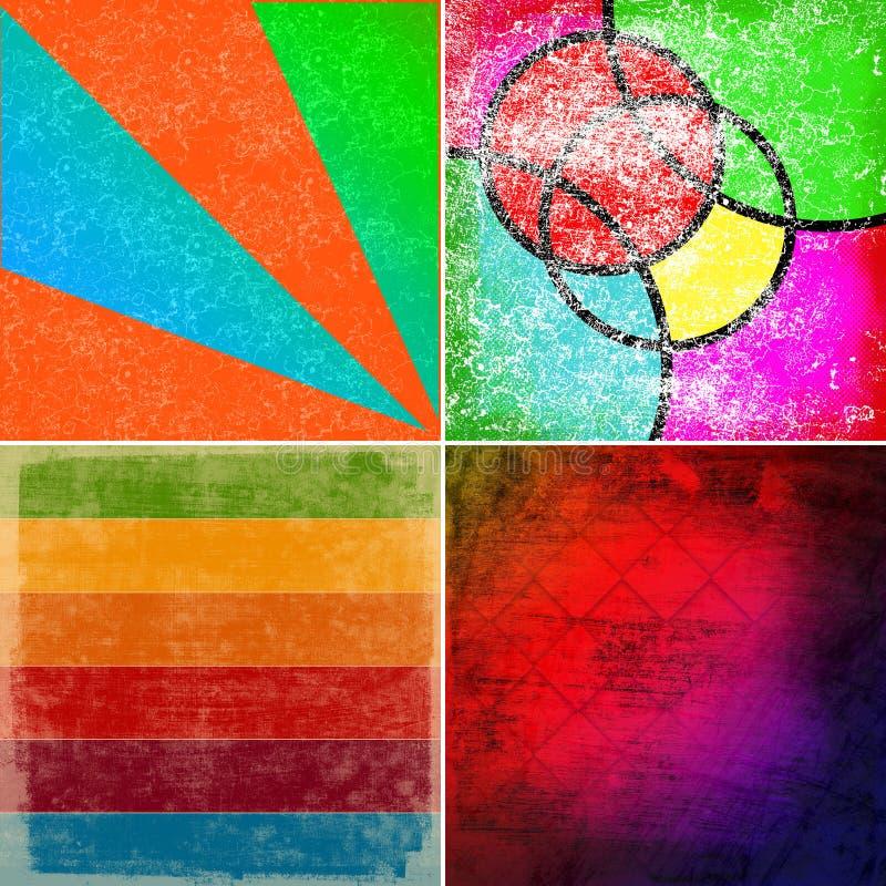 Grunge kleurrijke achtergronden royalty-vrije illustratie