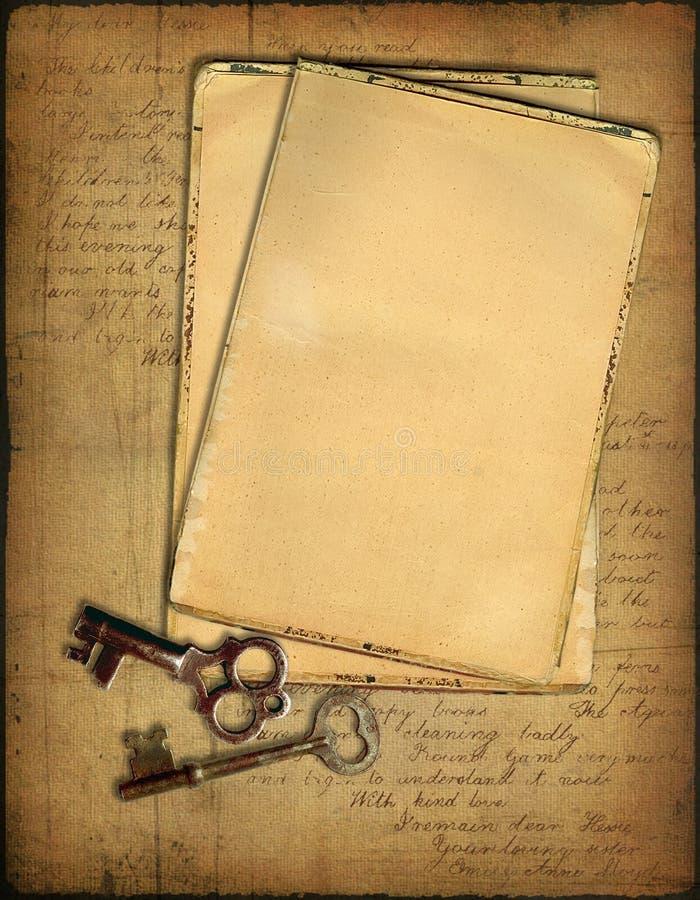 grunge kluczy papiery royalty ilustracja