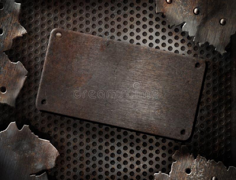 Grunge knackte Metallplattenschablone lizenzfreies stockfoto