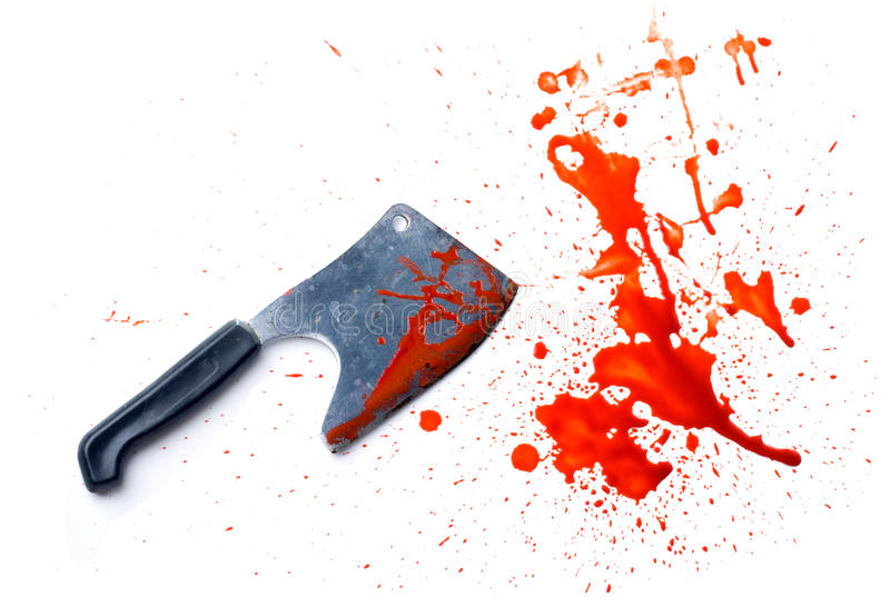 Grunge knife with a splatter of blood stains royalty free stock images